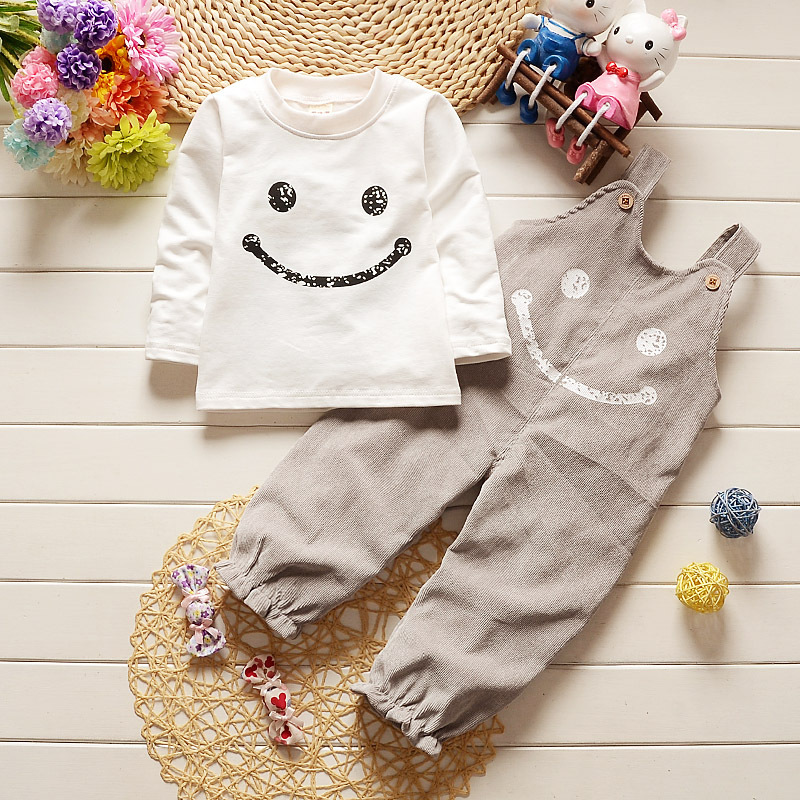 2017 New Baby Boy Spring Smiling Strap Clothing Sets Suit Newborn Baby Long Sleeve Shirt + Suspender Trousers Leisurely Sports
