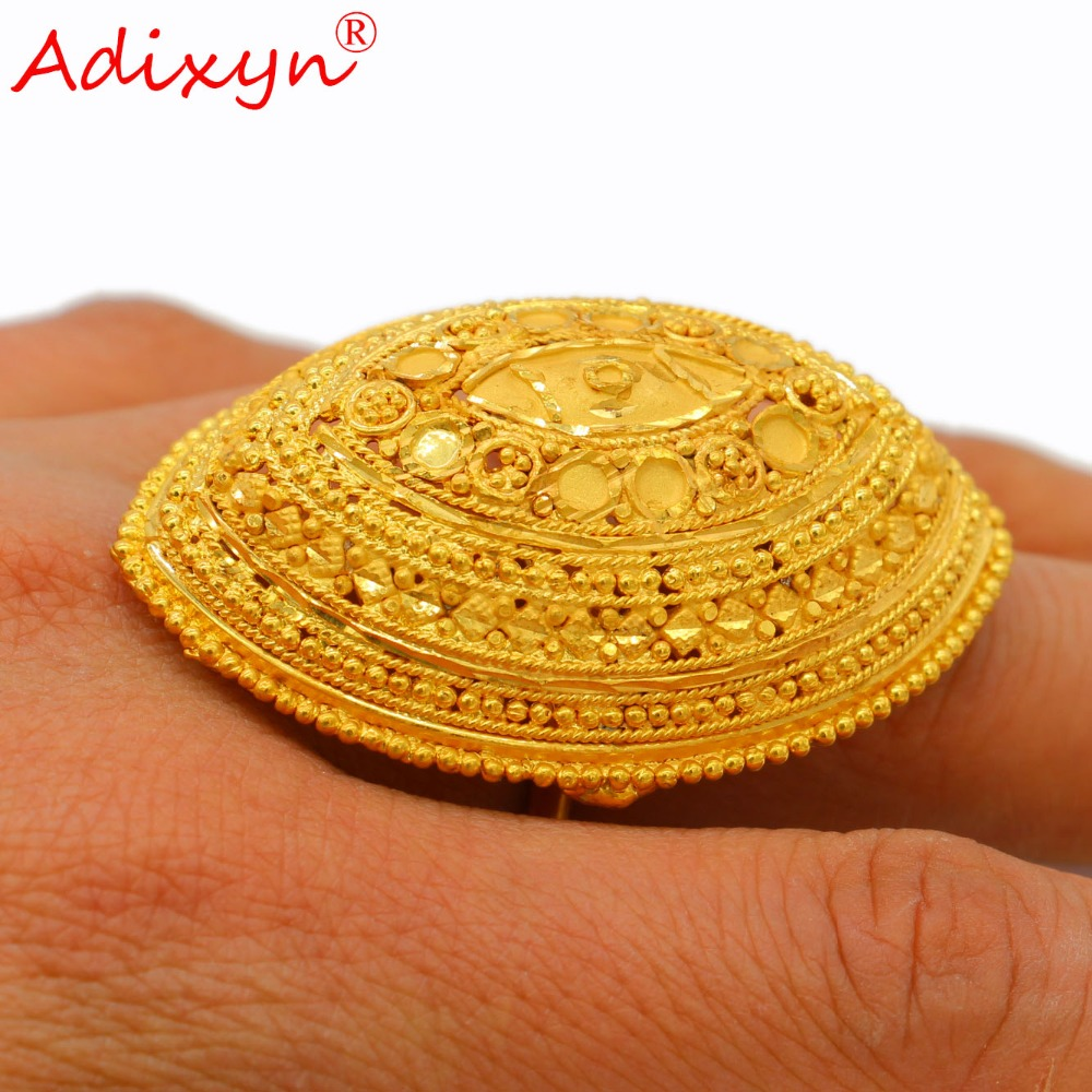 Adixyn Exaggeration Wide Ring Gold Color Trendy Delicate Wedding Jewelry for Women Girls African Ethiopian Arab