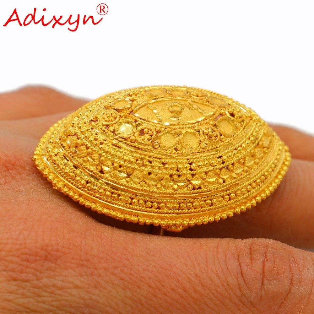 Adixyn exagération large bague couleur or à la mode délicat bijoux de mariage pour femmes/filles africain/éthiopien/articles arabes N03056