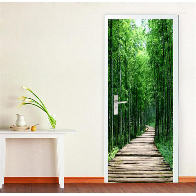 Door Photo Wallpaper Bamboo Wood Road DIY Murals Wallpaper Background Wall  Painting Living Room Bedroom Sticker Self Adhesive
