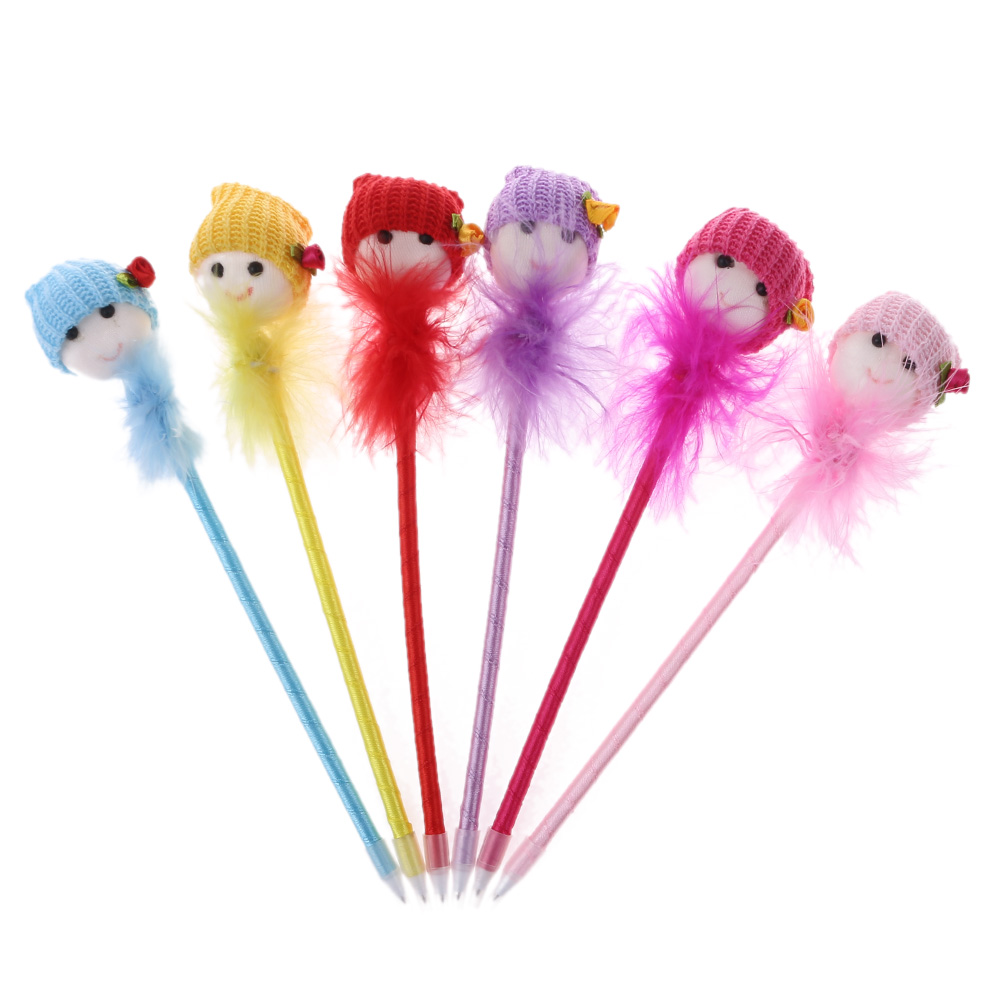 Random Color!!1/3pc Lovely Dolls Head Feather Ball Pen Kawaii Material Ballpoint Pens Students Stationery Office Supplies School Office & School Supplies Pens, Pencils & Writing Supplies