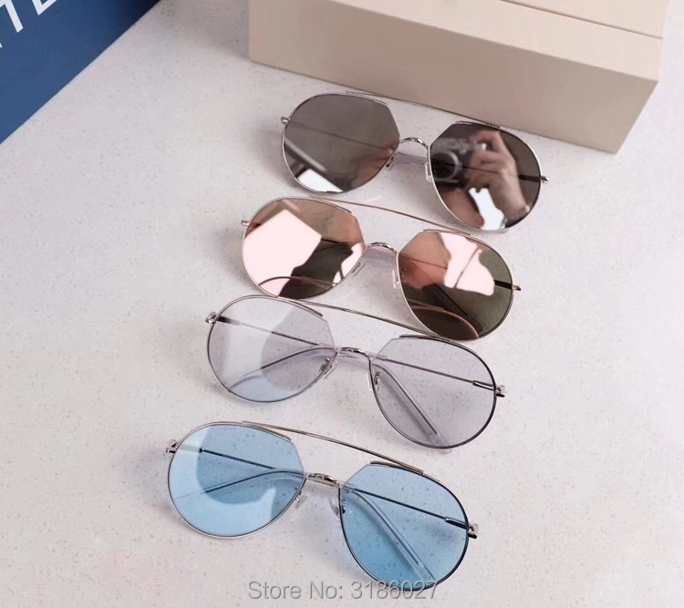 2018 mode tendance Z-1 grenouille lunettes de soleil femmes métal cadre Transparent coloré lentille UV400 lunettes de soleil hommes corée marque V Design