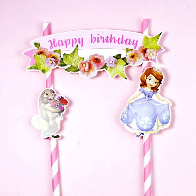 2 Set Lot Princess Sophia Minnie Mickey Mouse Animals Happy Birthday Cake Toppers Kids Boys Girl Party Cupcake Decoration Flags