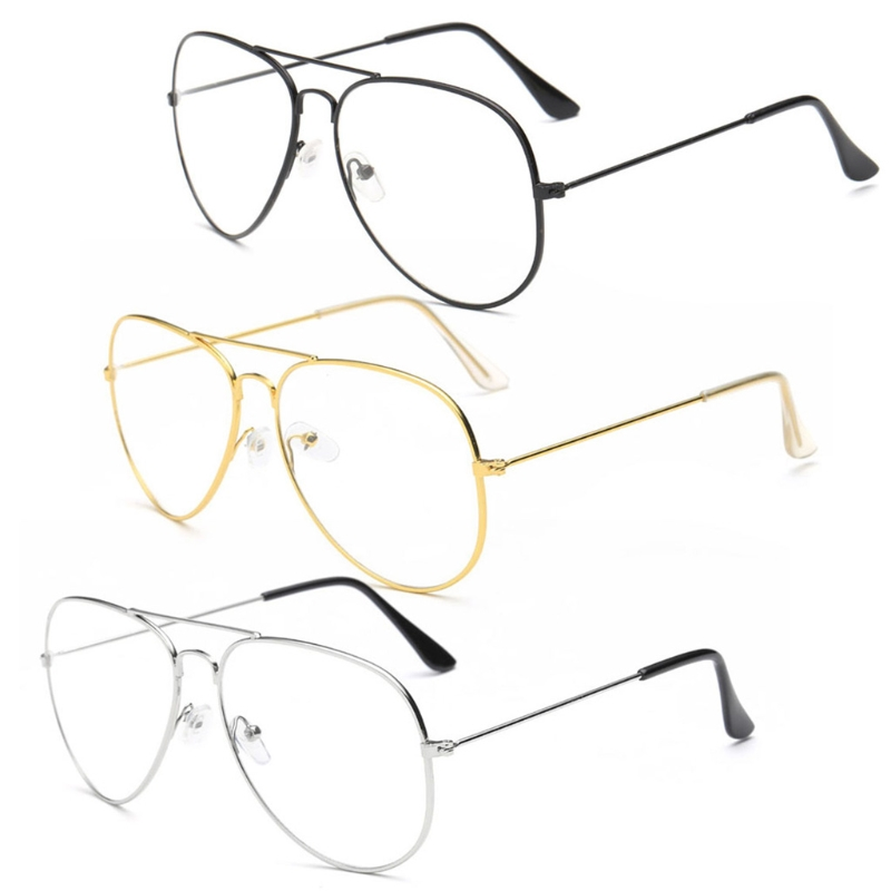 Large Fashion Retro Metal Clear Lens Glasses Designer Tear Drop Frame Eyeglasses