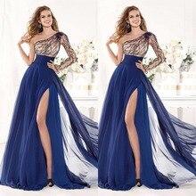 2015 Charming A-linie Einer Schulter Lange Volle Hülse Chiffon Abendkleid Bodenlangen Split Abend Formale Kleid F1487