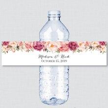 24 штуки(просто этикетки), на заказ красный розовый цветок свадьба пользовательские бутылки воды этикетки, персонализированные бутылки воды, день рождения, крещение