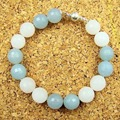 Natural Stone Vintage Classic Handmade Rhinestones Aquamarines Round Beads magnetic closure Charm Bracelet for Women