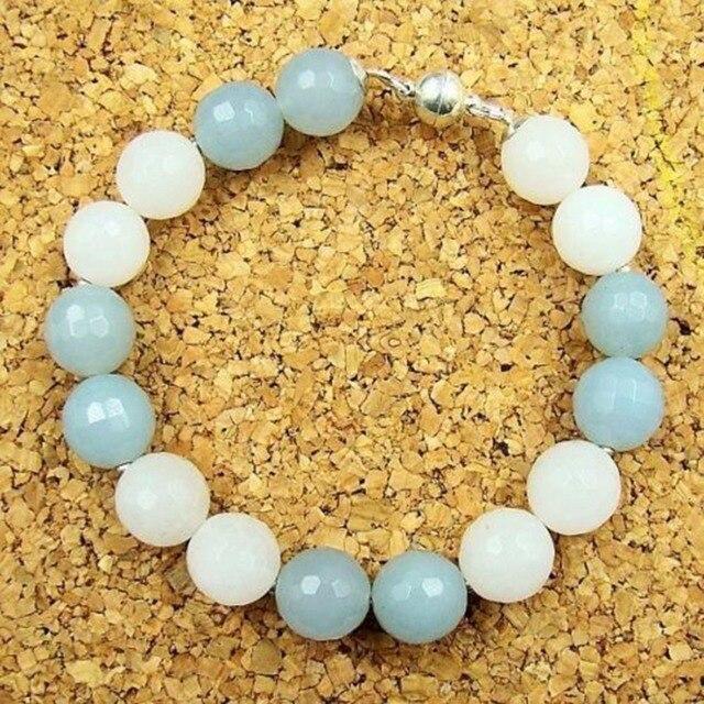 Natural Stone Vintage Classic Handmade Rhinestones Aquamarines Round Beads magnetic closure Charm Bracelet for Women