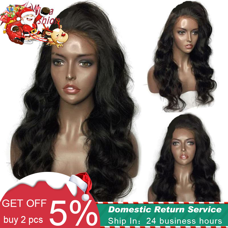 Wicca Fashion Glueless Lace Front Parykker For Black Women Body Wave - Menneskehår (sort)