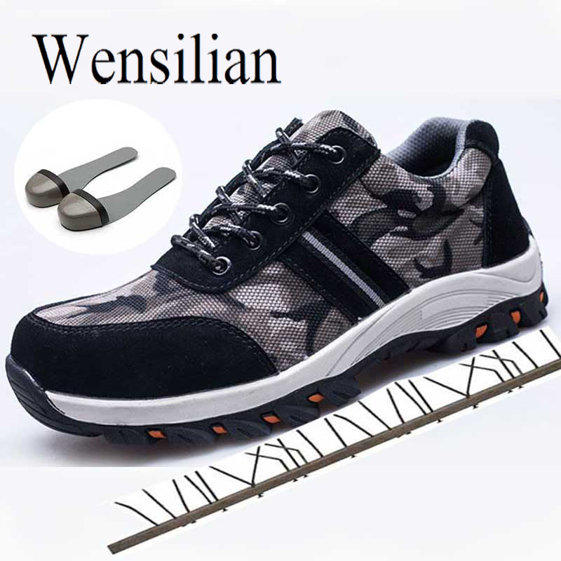 Indestructible Shoes Work & Safety Boots Construction Men Camouflage Puncture Proof Breathable Safety Shoes Steel Toe Shoes