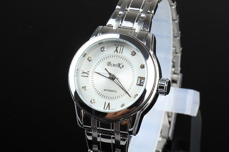 Enkel Business Designer Kvinnor Klänning Klocka Själv Vind Mekanisk Full Stål Armbandsur Kalender Analog Klocka Crystal Reloj NW3130