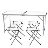Портативный Сверхлегкий регулируемая высота алюминий стол складной стол для пикника стул набор для столовой Пикник Кемпинг с 4 стулья