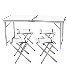 Portable Ultralight Height Adjustable Aluminum Table Folding Outdoor Table Stool Set for Dining Picnic Camping Set with 4 Chairs(China)