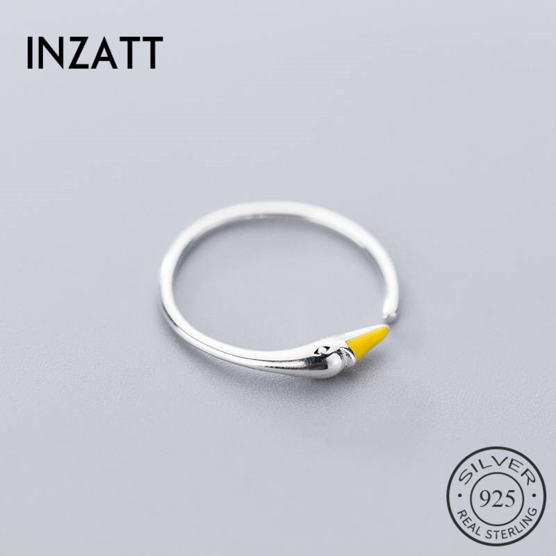 INZATT Real 925 Sterling Silver Minimalist Enamel Opening Ring For Fashion Women Unique Design Swan Ring Fine Jewelry Accessorie