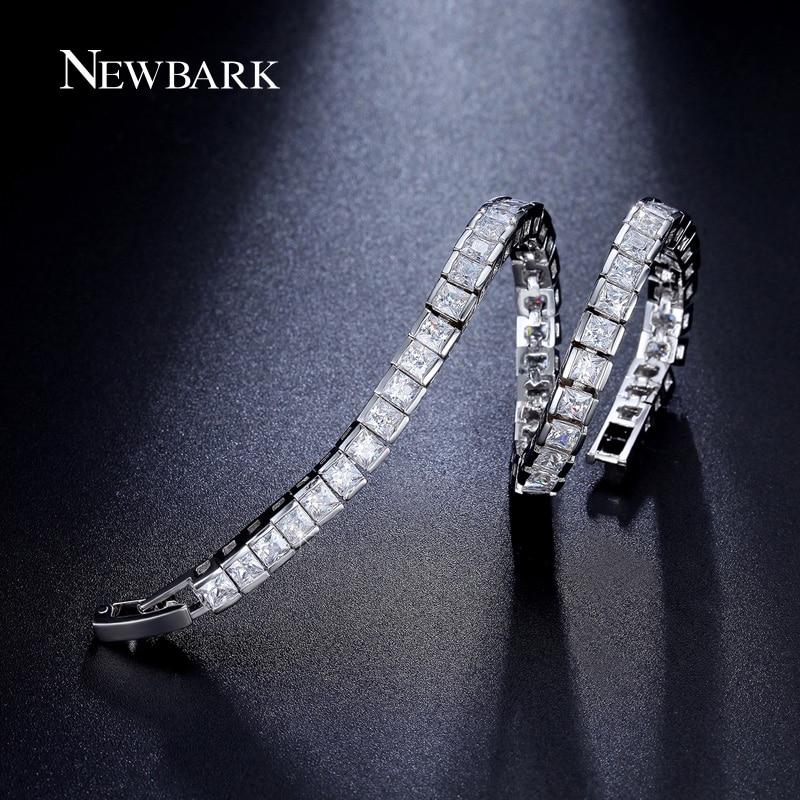 NEWBARK Classic Square 3mm CZ Tennis Bracelets for Woman Silver