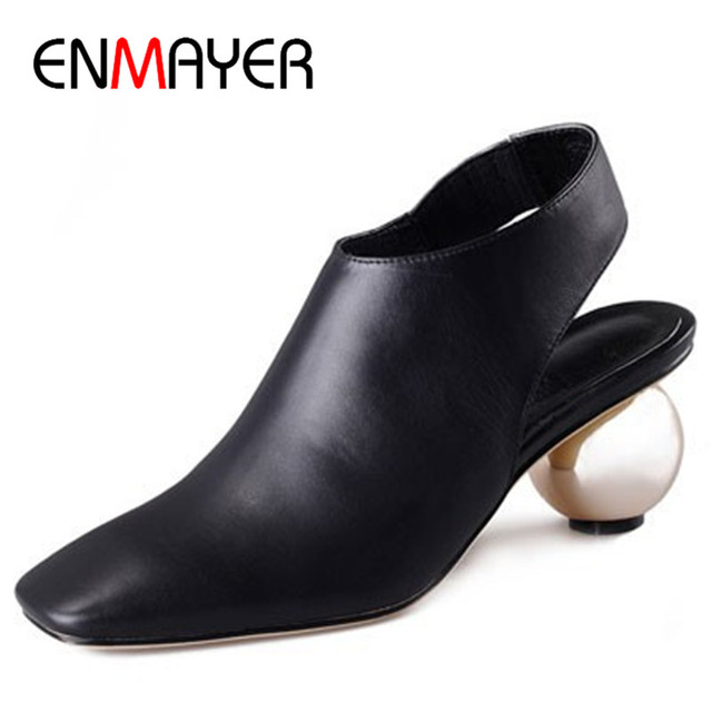 Enmayer sapatos de salto anormais bombas da plataforma da forma das mulheres bombas de casamento do dedo do pé quadrado estilo estranho sapatos causais mulher