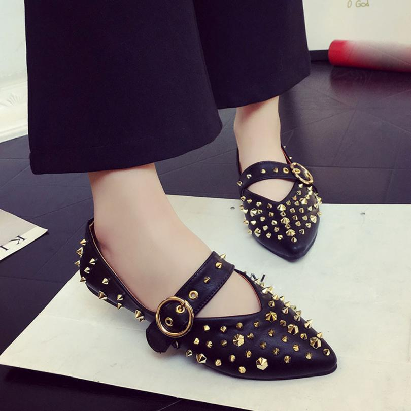 2017 Spring Autumn Women Shose Rivets Flat Pointed Toe Leather Slip On Casual Lady Shoes Fashion Shoes Woman chaussure femme  2017 women lady shoes flat heel spring autumn boat pointed toe slip on casual simple mixed color pink yellow blue black red