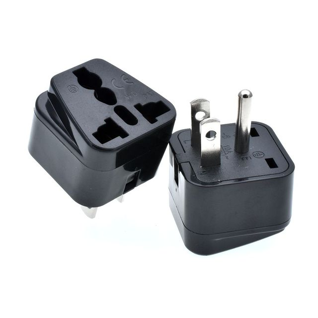 White Black Color Universal To Usa Canada Travel Plug Adapter Converter Uk Us Au China 3 Pin American Socket Adaptor 2pcs
