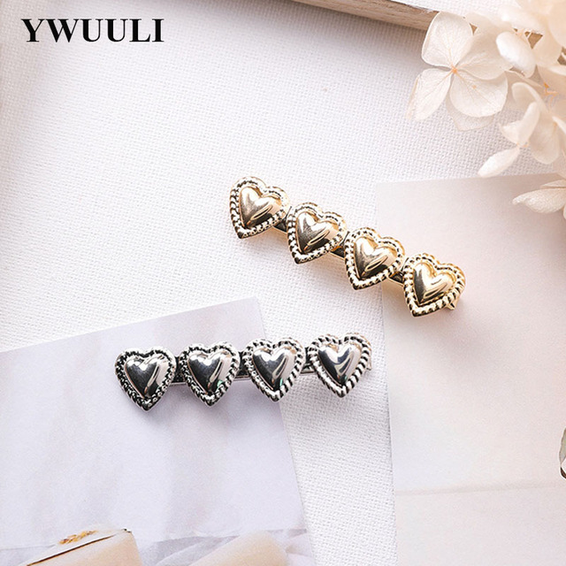 New Simple Korean Style Heart Barrette Hair Clips for Women Girls Ponytail  Hairpins Bride Hair Jewelry 4c7503e5a115