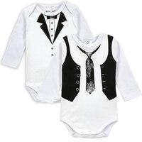 2pcs Lot New Baby Long Sleeve Newborn Infant Bodysuit Boy Gentleman Tie Body Clothes Cute Boys
