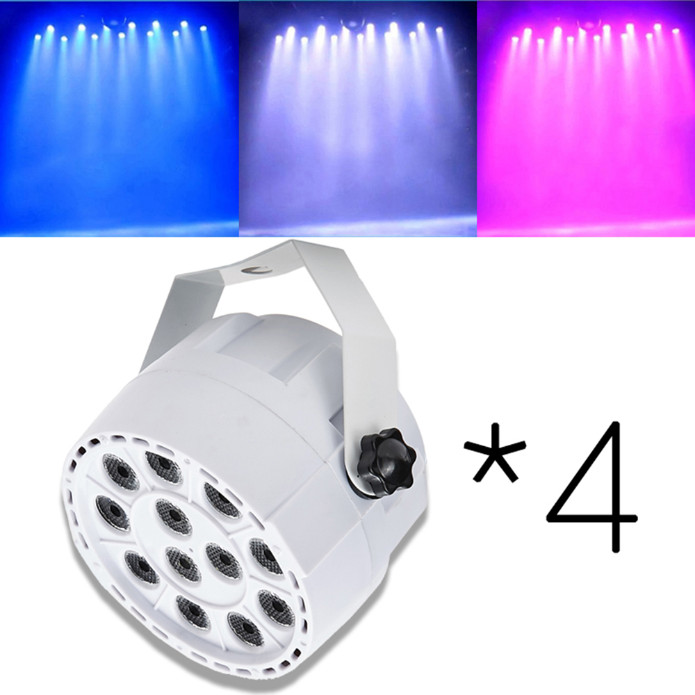 4PCS * 12LEDs RGBW Color Mixing Par Stage Light Sound Activar DMX para Disco Party DJ Proyector Efecto de iluminación