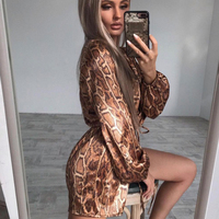 Tosheiny 2019 Women Sexy Deep V Long Sleeve Gold Snake Print Rompers Female Elegant Playsuits TH9700 3