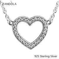 925 Sterling Silver Loving Hearts Necklace Charms With Pendant For Women Fashion Elegant Necklace