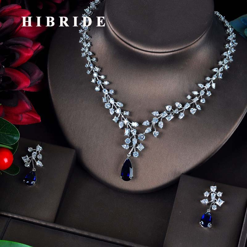 HIBRIDE Charm Blue Water Drop Dubai Jewelry Sets White Gold Color Wedding Necklace Earrings Sets Bijoux bijoux mariage N-593 hibride luxury top quality white green water drop shape cubic zirconia jewelry sets white gold color necklace earrings n 057