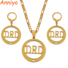 Anniyo Name DRD Earrings Necklaces Jewelry set for Woman Gold Color Jewellery (CAN NOT CUSTOMIZE THE NAME) #036321(China)