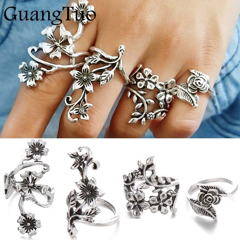 G008 Hot 4pcs Vintage Knuckle Rings for Women Charming Turkish Big Rose Flower Leaf Midi