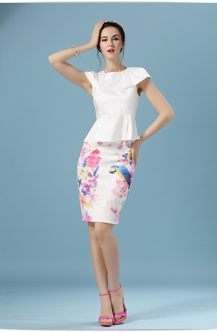 Elegant Office Pencil White Floral Bird Print High Waisted Skirt 8