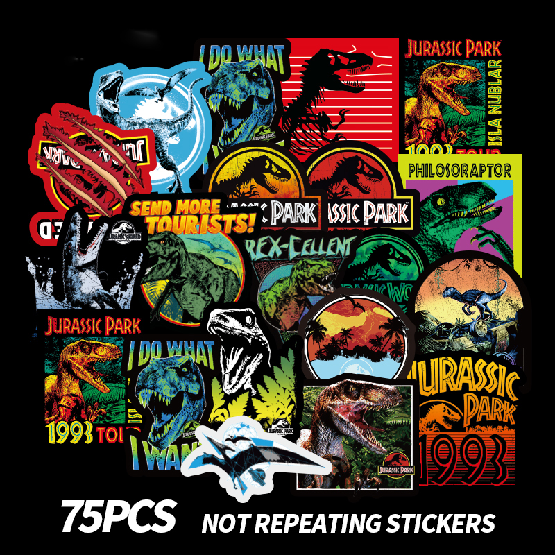 75PCS Jurassic Park Stickers Toys For Children Animal Funny Sticker Decal Decoration Jurassic Park To Laptop Skateboard Suitcase