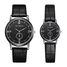 2 шт. набор пара часов простой кожаный браслет наручные часы для женщин модные часы для мужчин сплав аналоговые кварцевые часы Relogio Masculino