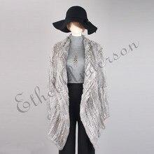 Женское вязаное длинное пальто из натурального кроличьего меха, куртка с отложным воротником, классический дизайн, необычный женский шикарный кардиган, жилет, куртка