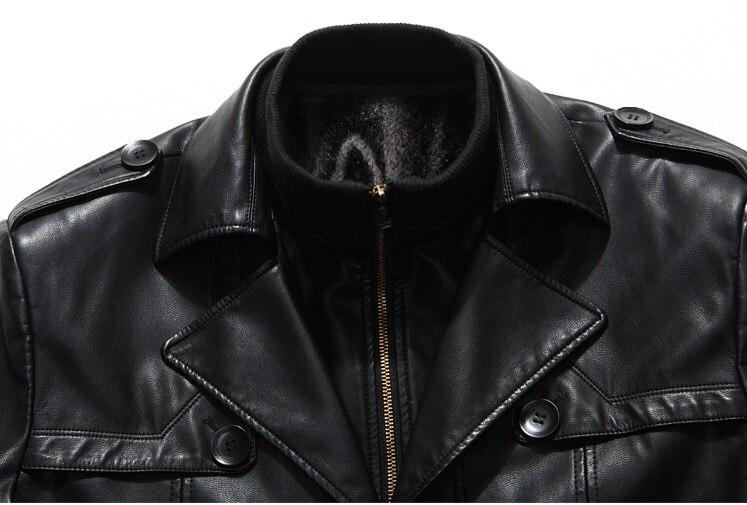 007 Новая модная зимняя мужская одежда из натуральной кожи пальто из овчины мужской кожаный длинный плащ - 3