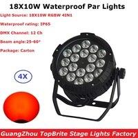 4Pcs Lot Outdoor Par Cans High Quality 18X10W RGBW 4IN1 Waterproof Par Lights 90 220V DMX