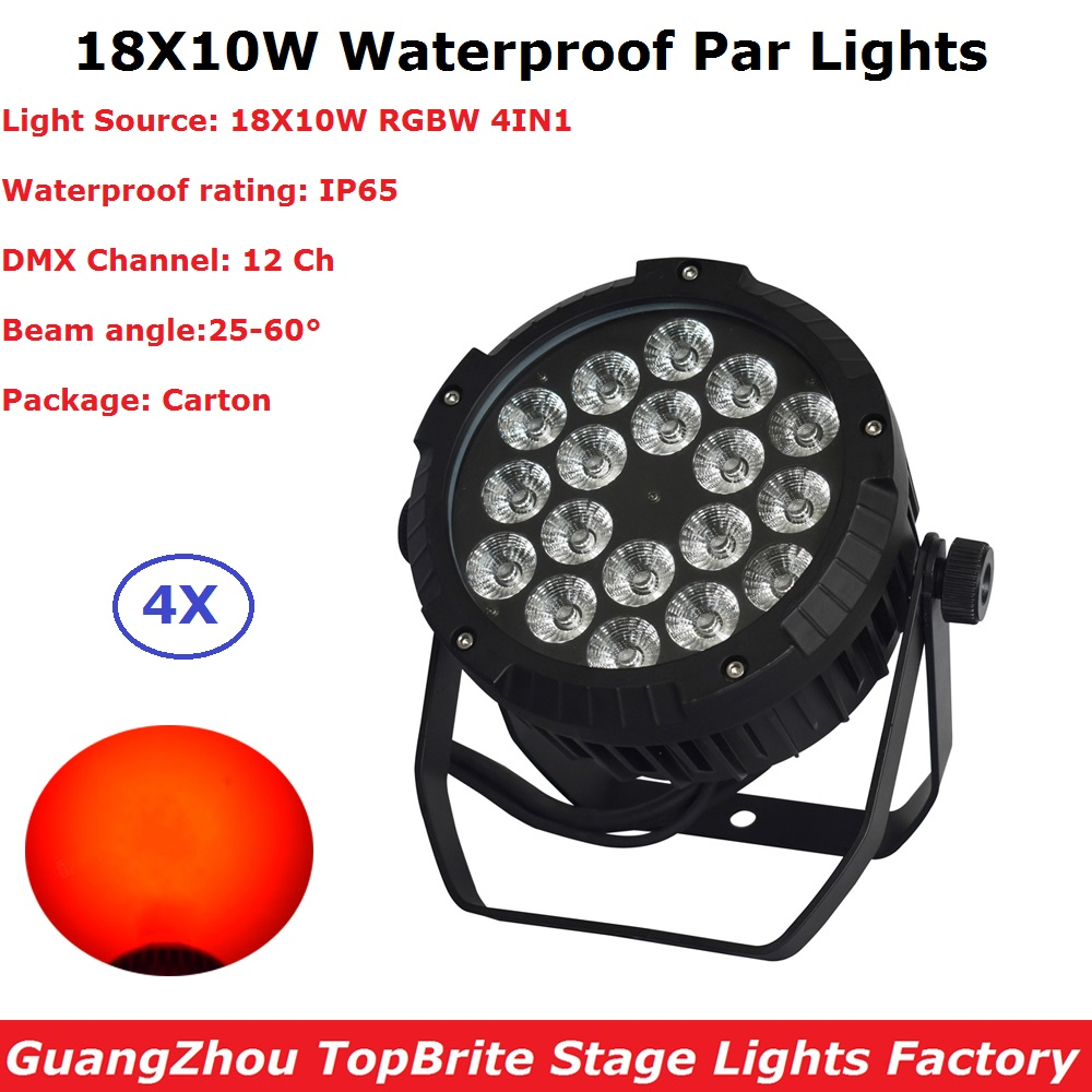 4Pcs/Lot Outdoor Par Cans High Quality 18X10W RGBW 4IN1 Waterproof Par Lights 90-220V DMX 12 Channels For Disco XMAS Holiday
