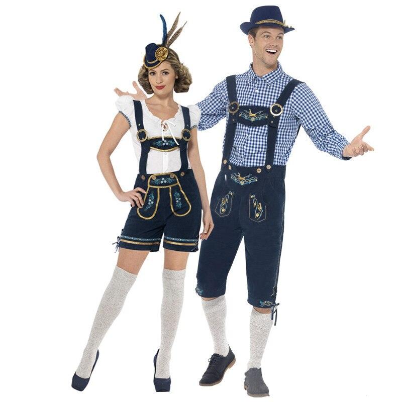 2018 Nouveau Couple Bière Fille Costume Allemand Bavarois Bière Oktoberfest Halloween Cosplay Costume Hommes Fantaisie Robe De Soirée Pour Les Femmes