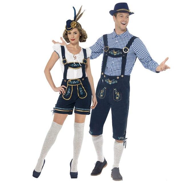 2018 nueva pareja cerveza wench traje bávaro alemán cerveza Oktoberfest  hombres Cosplay traje de Halloween vestido ba0147f8b25