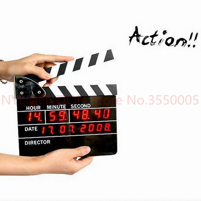Directors Edition Clapperboard Digital Alarm Clock Movie Action LED Desk Clock Clapper Board Movie Slate Table Clock 1pcs