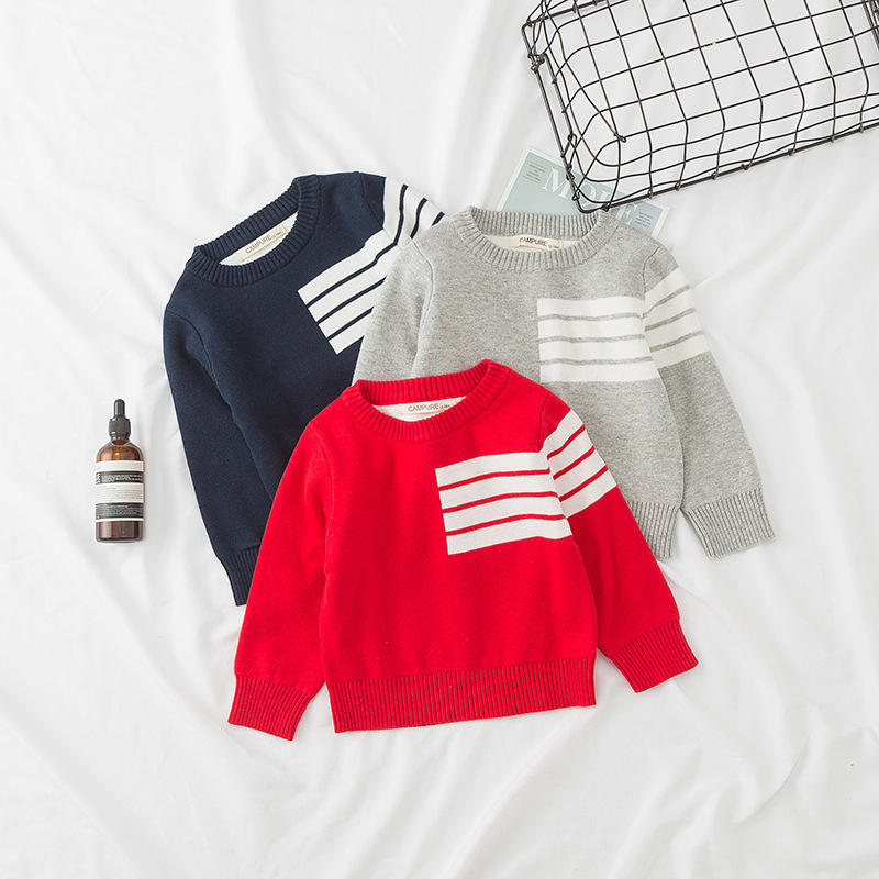 1-6T Toddler Kids Baby Boys Outfits Sweatshirt Sweater Tops T-shirt Coat Fashion Stripe Knitted Casual Long Sleeve Boys Clothes