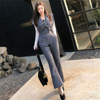 Rompers Women Workwear Jumpsuit Deep V Neck Jumpsuits Elegant Office Work Overalls Lady Solid Gray Sleeveless Jumpsuit Ds50585