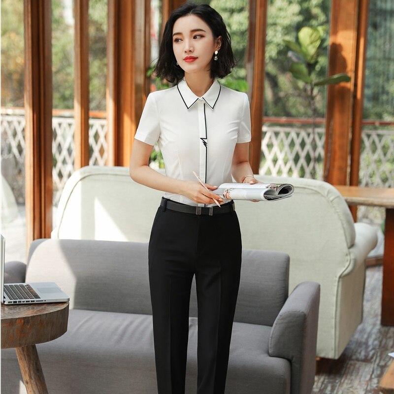 89288a54bc03 Tops D affari Set Bluse Donne Bianco Pezzo Con Pantaloni Plus E Size  Ufficio Slim White Elegante 2 Vestiti ...