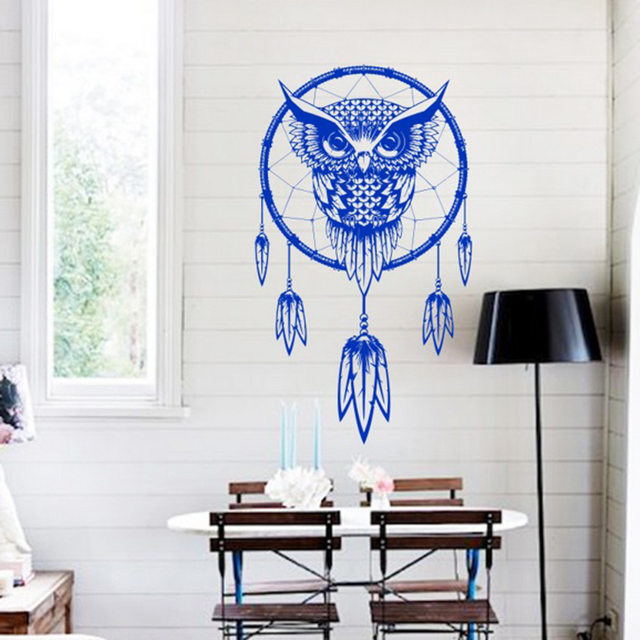 Funlife Indian Dream Catcher Decor Wall Sticker Cute Owl Wall Decals Vinyl Murals  Sticker Animal Wallpaper Home Decoration
