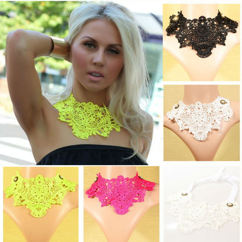 Fashion Chokers Lace Necklace Women False Collar Jewelry Magenta Yellow Black and White Color Z21T1C(