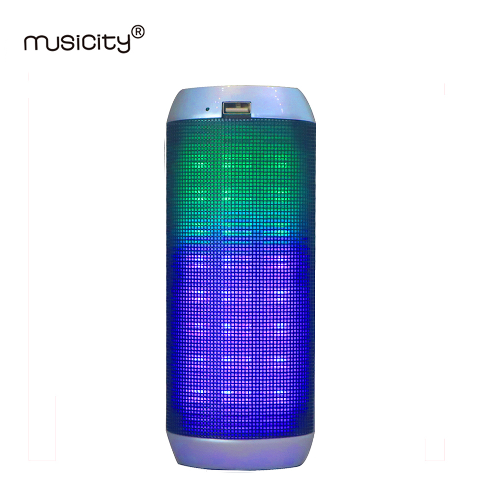 Musicity Wireless Portable Led blutooth Speaker for Phone PC with Bass Subwoofer Music FM Radio MIC USB SD Card 14W 10PC stylish portable mp3 music speaker with fm radio sd slot usb host multi color led black