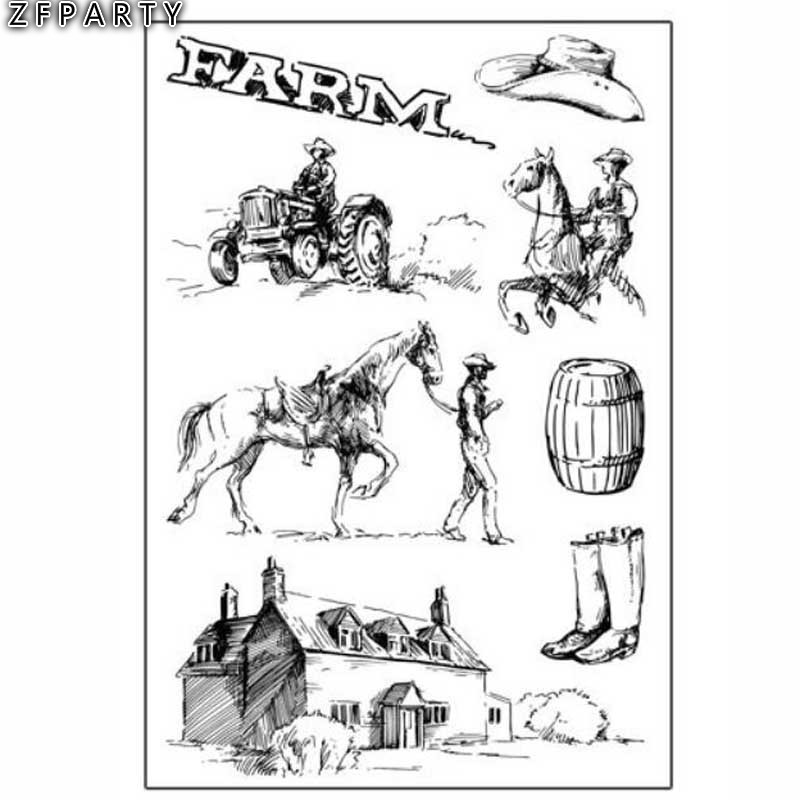 ZFPARTY Cowboy Farm Transparent Clear Silicone Stamp for