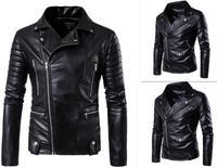 Hot 2017 Men's autumn winter brand rock leather jacket, motorcycle jacket, men leather clothes Slim mens leather jacket Coats