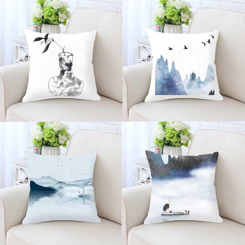 Hand Painted Zen Cushion Watercolor Ink Vase Mountain Landscape Lake Boating Cloud Egret Decorative Sofa Throw Pillows For Chair