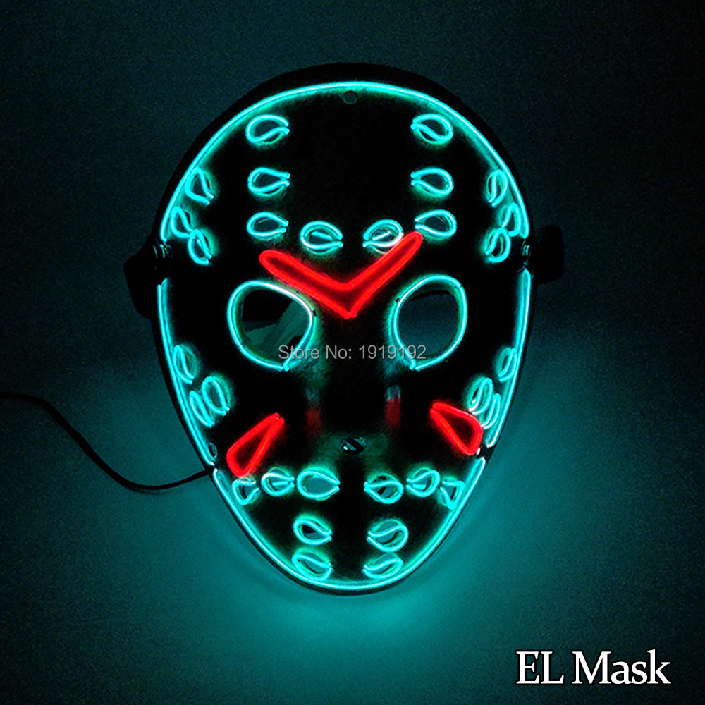 Horror Face Halloween Party decoration EL wire glittery mask Two Color Mixed with DC-3V Driver For Festival decoration